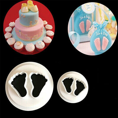 Baby Footprint Plastic Mold Embossed Mould Cookies Baking Fondant Cake Making