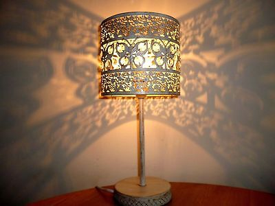 Modern Vintage Style Cream Shabby Chic Butterfly Gem Cut Out Bedside Table Lamp