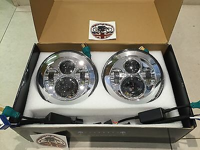 "7"" Inch LED HEADLIGHT PAIR Land Rover Defender DOT SAE E Approved CHROME 734C"