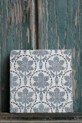 Aesthetic Movement Tile 19th Century Blue Grey Floral Damage To Back FABULOUS