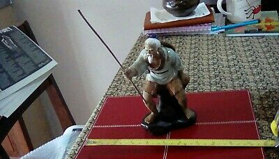 Chinese Mudman Figurine Fisherman number 23 stamped on base.No side whiskers!
