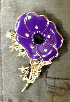 Purple Poppy Pin Badge for the animals lost to world war lest we forget BNIP