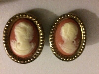 Vintage Cameo Earrings Clip On