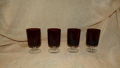 Set Of 4 Cristal D'arques Ruby Red Luminarc Water Juice Glasses France