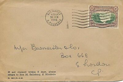 SOUTHERN RHODESIA 1946, Victoria Falls 2 d. as single postage on very fine cover