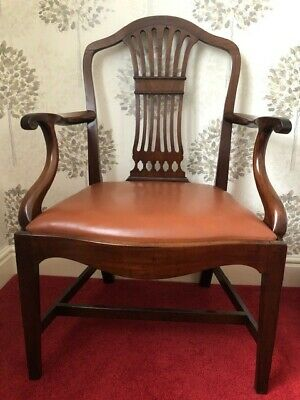 George III Period Hepplewhite Mahogany Open Arm Chair