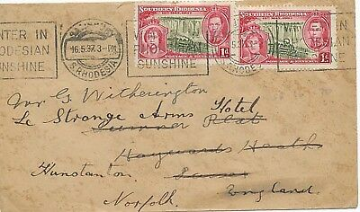 SOUTHERN RHODESIA 1937 Coronation 1 d. (2x) commercial cover VARIETY to England