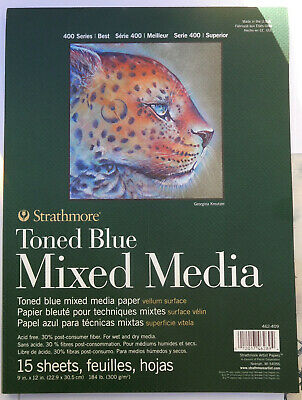 """Strathmore 400 Series-Toned Blue Mixed MediaPaper Sketch-book 50 Sheets  9 x 12"""""""