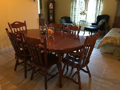 SOLID PINE DINING Room table set with 6 chairs and 2 leafs ...