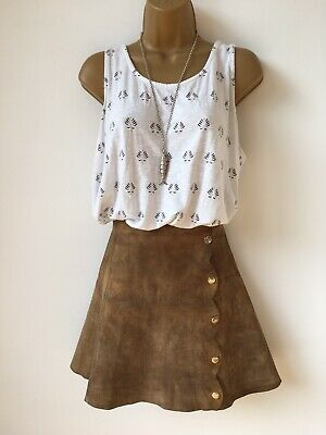 Vintage 60s brown suede popper button A-line mini skirt Boho Festival Retro
