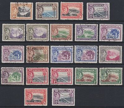 Dominica GVI 1938 used set sg99-108a