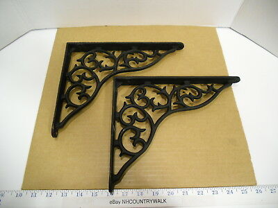 "2 Black Decorative Scroll Cast Iron Wall Shelving Brackets, 8 1/2"" x 10 1/2"" EUC"
