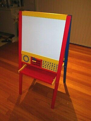 Kids Timber Easel Two Sides Magnetic White Board and Blackboard Stand - foldable