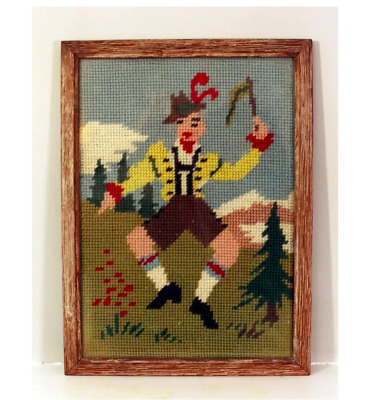 Vintage Dancing Man In German National Costume - Framed Embroidered Picture