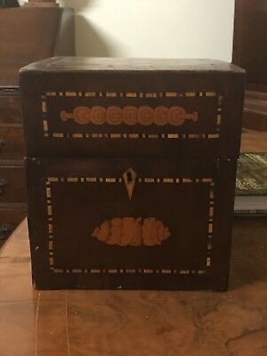 Antique Georgian Square Marquetry Decanter Box with Two Original bottles