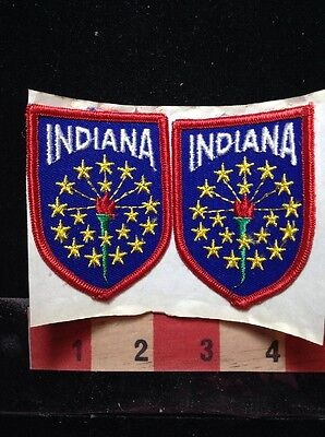 Patch Pair Of STATE OF INDIANA Patches ~ Adhesive Back, But Need To Sew On 69Y2