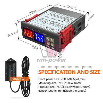 DC12V STC-3028 Temperature&Humidity Thermostat Controller Dual LED NTC10K Probe