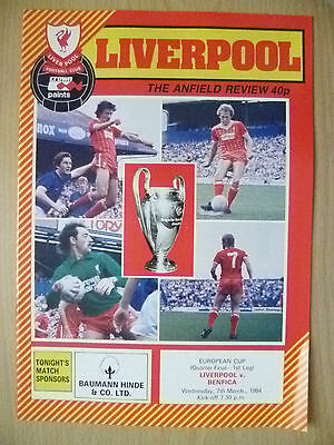 1984 EUROPEAN CUP Quarter Final, 1st LEG- LIVERPOOL v BENFICA