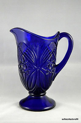 Mosser Glass Cobalt 32 oz Pitcher - Adaption of Viking Glass Yesteryear Pattern