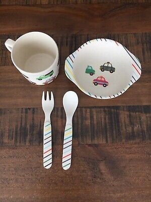 Culina Kids Melamine Dinnerware- cars, kids cutlery/bowl cup NWOT, Free shipping