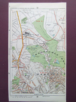 "LONDON VINTAGE HAMPSTEAD GOLDERS HILL GOLDERS GREEN MAP 1920 STANFORDS  6""x9"""