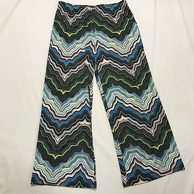 Womens Fig and Flower Stretch Wide Leg Pullon Pants Size L