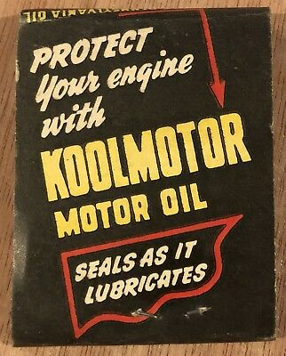 1930's Cities Service Koolmotor Oil Match Cover NOS Seal As It Lubricates