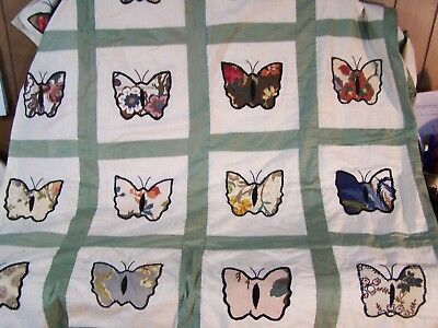 """Vintage Handmade UNFINISHED Patchwork Quilt w/ Butterfly Applique 81""""x87"""" Queen"""