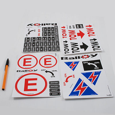 Scrutineering Sticker Battery Cut Extinguisher tow decal dashboard rally race ..