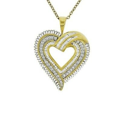 14K Gold Over 1Ct Baguette Round Diamond Heart Pendant Free Ship W/Chain Mom Day