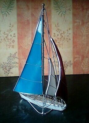 Stained Glass White Metal 3D Free Standing Sailboat Nautical Decoration