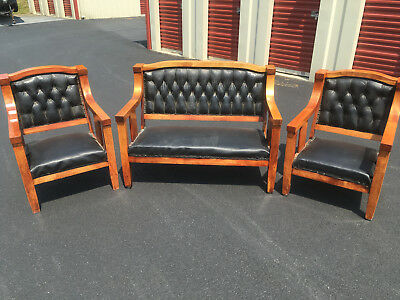 ANTIQUE EMPIRE 3 Pc. SETTEE SET w/ORIGINAL LEATHER COVERINGS - MISSION OAK STYLE