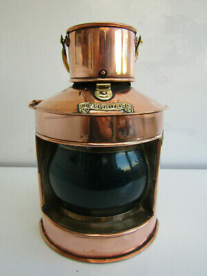 Antique Copper Ships Light Lantern Starboard Made In England By Seahorse