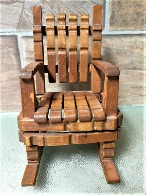Vintage Miniature Large Doll House Wood Rocking Chair made with  Cloths Pins 6""