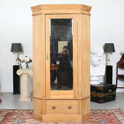 Antique Victorian Corner Wardrobe Mirroed Pine Ash 19th Century