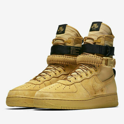 3ea9a2af75e1 New Nike SF AF1 Air Force 1 Mens Size 10.5 Boot Wheat Tan Gold Black 864024
