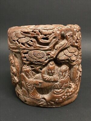Chinese Art Carved Bamboo Brushpot Mountain Scenery With People Design