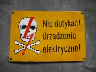 Enamel   Vintage  DANGER WARNING sign   Polish  POLAND  Heavy Duty  Original