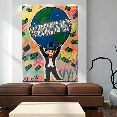 """VV295 Hand-painted Alec Monopoly Oil Painting on Canvas The World Is Yours 36"""""""