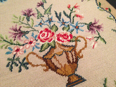 Vintage Hand Embroidered Tapestry Panel ~ Beautiful Vase Of Flowers