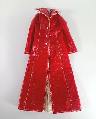 Vintage 1965 Original Francie Doll LONG ON LEATHER Red Maxi Coat #1769