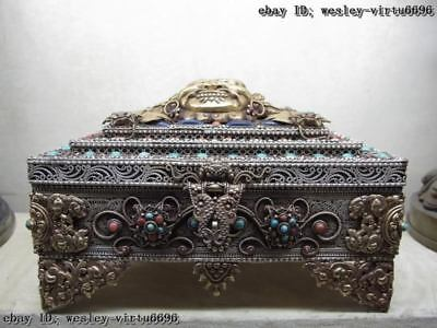 Tibet Gilt Copper Silver inlay turquoise coral Garuda jewelry jewel case box
