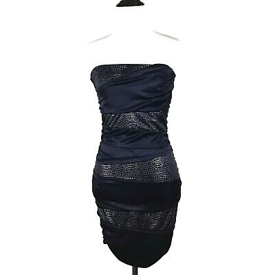06771094 SPEECHLESS Navy Blue Silver Shiny Ruched Strapless Bodycon Dress Cocktail  Medium