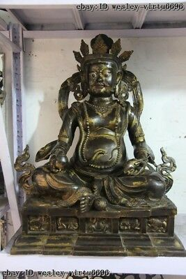 Tibet Buddhism Temple Copper Bronze Yellow Jambhala God of wealth Buddha Statue