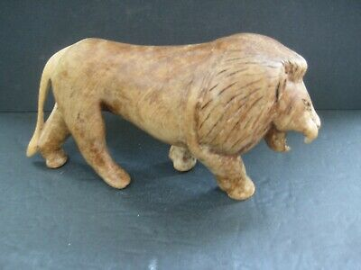 """Wooden Hand Carved Walking Roaring Lion Figurine, 4"""" Tall 7"""" Long"""