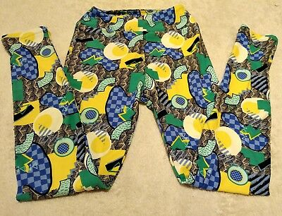"Lularoe Leggings Inseam 24"" Tween Pants Green Blue Yellow Geometric Girl Stretch"