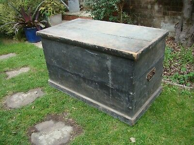 Antique Solid Pine Blanket Box -  Ottoman Storage Coffee Table Furniture