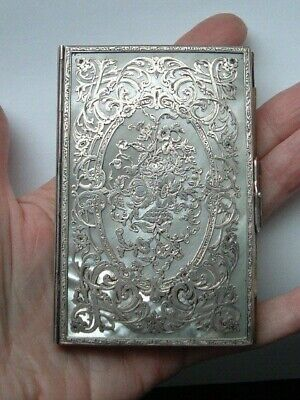 Antique Pierced Silver Mother of Pearl Note Book in Case