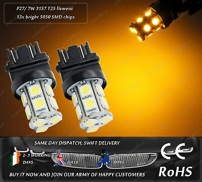 LED T25 3157 P27/7W Yellow Amber Side Repeater Turn Signal Indicator Light Bulbs