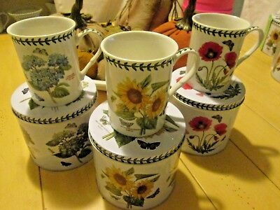 3 New Botanic Garden Coffee Mugs In Decorative Tins Sunflower Poppy Hydrangea